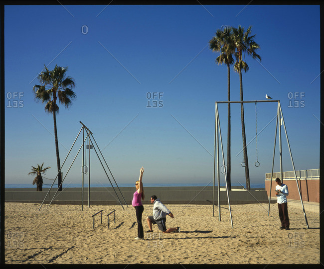 Venice Beach, Venice, California - February 7, 2008: Morning exercisers at the Venice Beach Recreation Center in Venice Beach, California