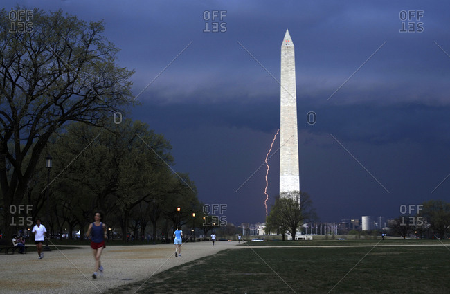 Lightning at the Washington Monument, USA