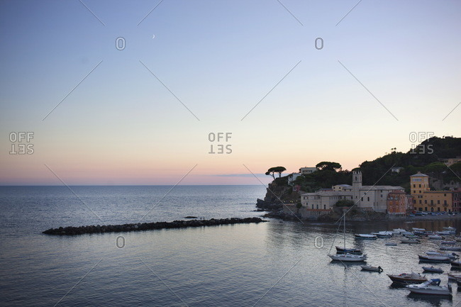 Sunset in the small harbor of Sestri Levante