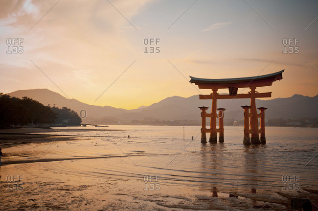 Torii gate at the Itsukushima Shrine, Japan