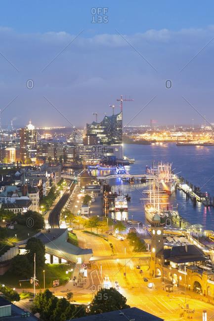 View on the harbor, Elbe river and Elbphilharmonie, Germany, Hamburg