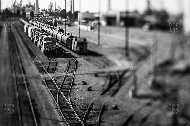 Trains on railway tracks