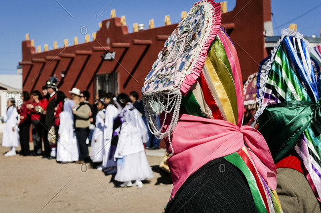 Matachine dancers perform for the celebration of the Virgin Guadalupe in Tortugas Pueblo, New Mexico, United States