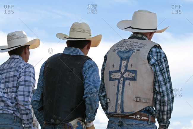Cowboys on rodeo in Galisteo, New Mexico, United States