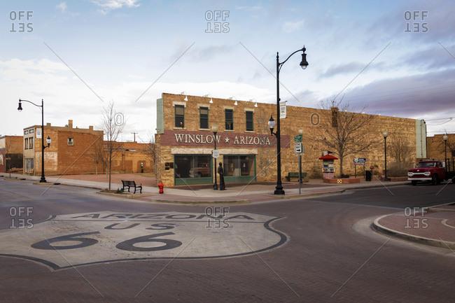 Street view in Winslow, Arizona, United States