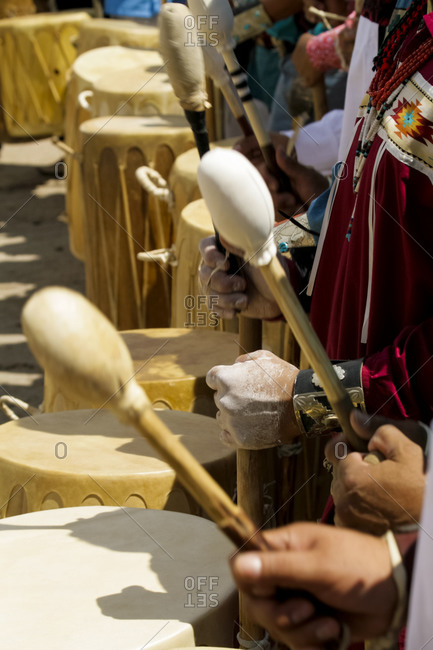 Tewa drummers in Ohkay Owingeh Pueblo, New Mexico, United States