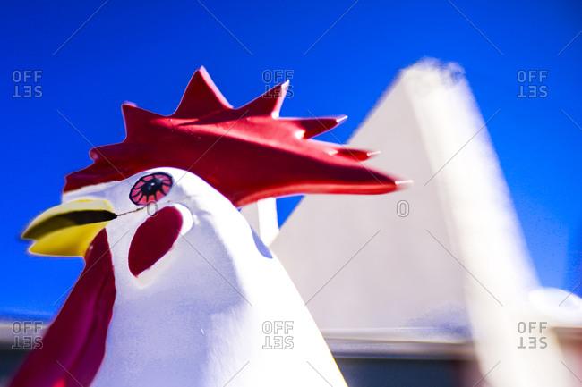 Plastic chicken in Seligman, Arizona, United States