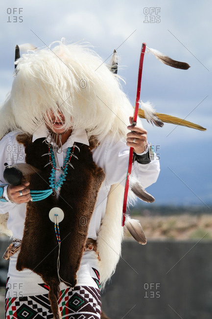 Native American dancer in Santa Fe, New Mexico, United States