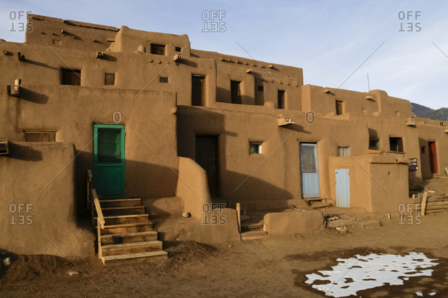 Traditional adobe buildings in Taos Pueblo, New Mexico, United States