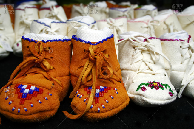Native American suede moccasins with beading from Santa Fe, New Mexico