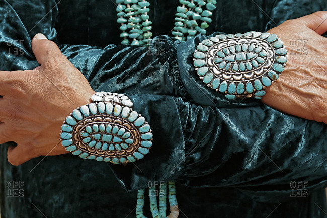 Man wearing Turqoise jewelry in Gallup, New Mexico. USA