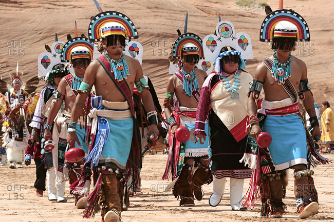 Hopi dancers marching in Gallup, New Mexico, United States