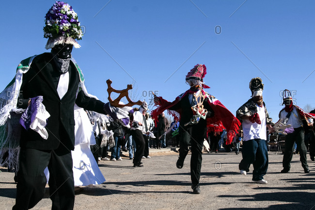 Matachine dancers in Alcalde, New Mexico, United States