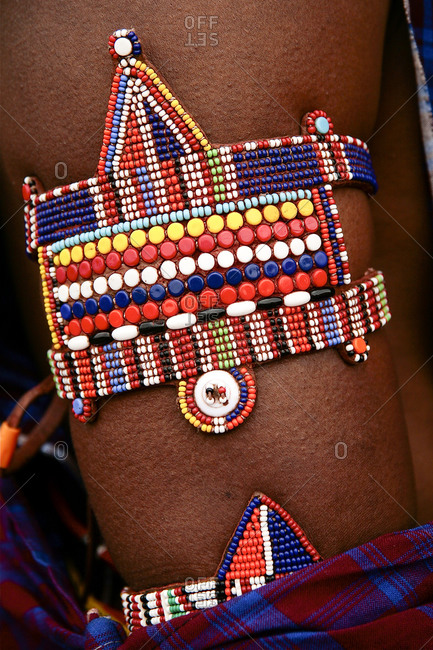 Maasai beaded arm band at a folk art market in Santa Fe, New Mexico