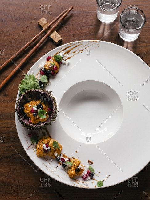 Sea urchin (uni) nigiri on a plate