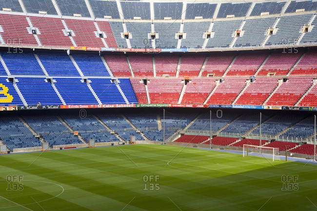 Barcelona, Spain - August 16, 2006: Empty Camp Nou, the home of FC Barcelona
