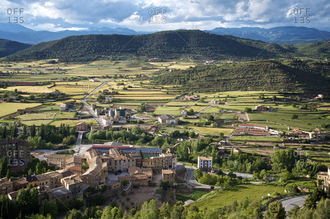 Spanish countryside viewed from the top of the hill at Cardona, Spain.