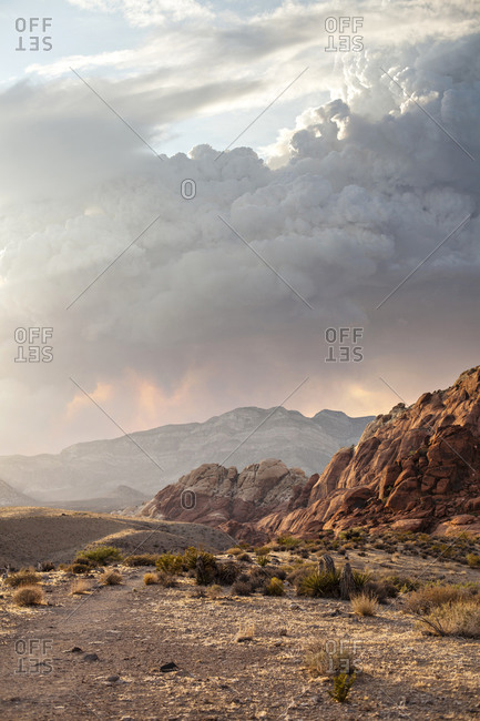 Smoke envelopes the mountains near Red Rock Canyon in Las Vegas, Nevada during a summertime forest fire.