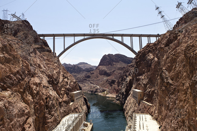 The Colorado River Bridge, completed in 2010, connects Nevada and Arizona and towers over the Hoover Dam.