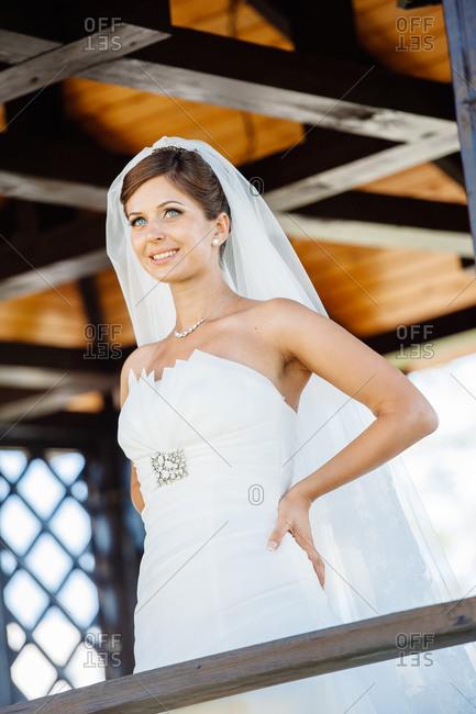 Bride posing at a wedding venue