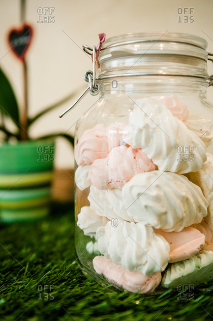 Close up of meringues in a jar