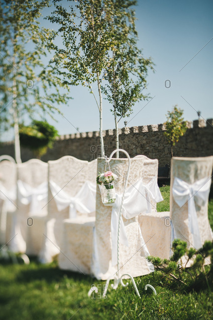 Decorated seats at a wedding venue