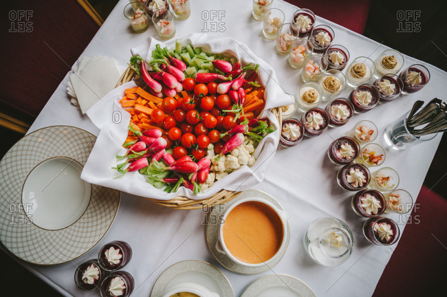 Vegetable assortment with desserts served on a table