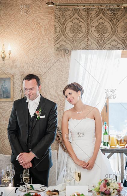Newlyweds Enjoying The Toast At Their Wedding Reception Stock Photo