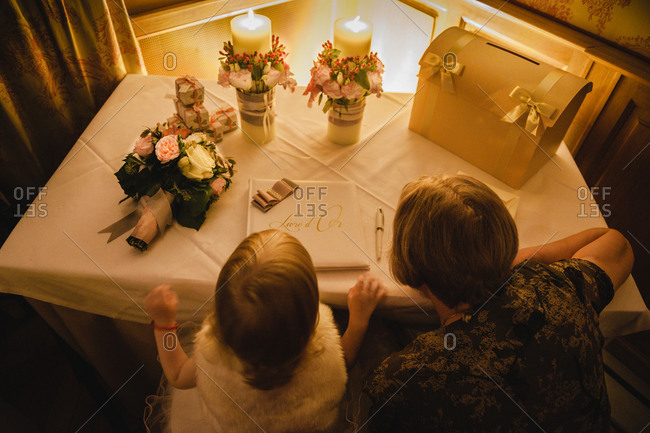 Guests at a wedding gift table