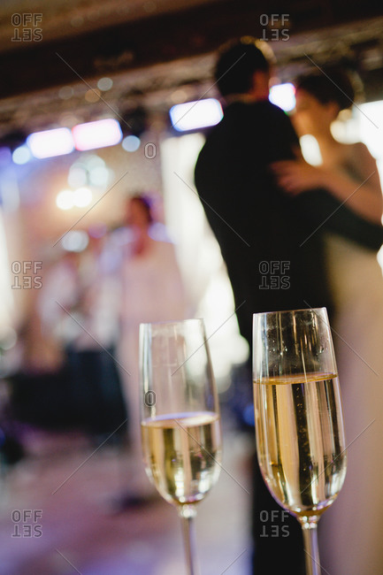 Two glass of champagne at a wedding reception