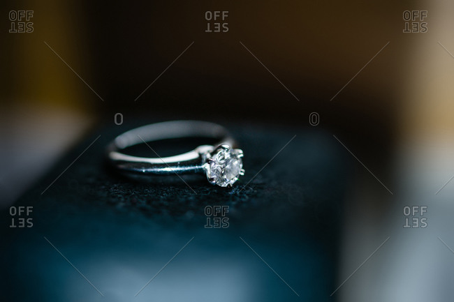 Close up of an engagement ring with a gemstone