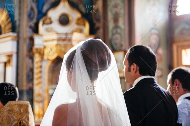 Orthodox wedding ceremony of a couple