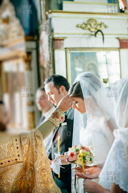 Blessing during Orthodox wedding ceremony