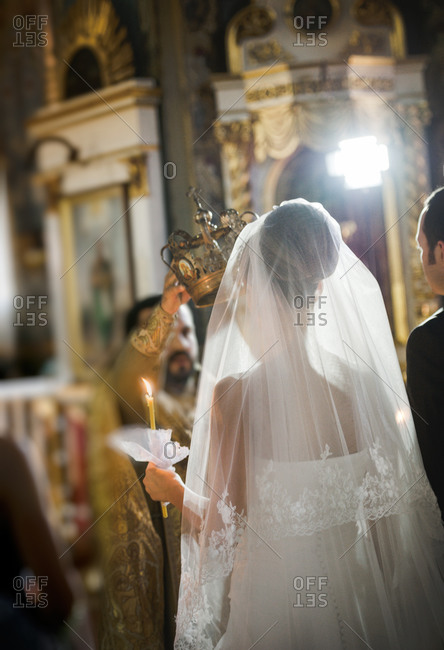 Crowning of the bride at an Orthodox wedding ceremony