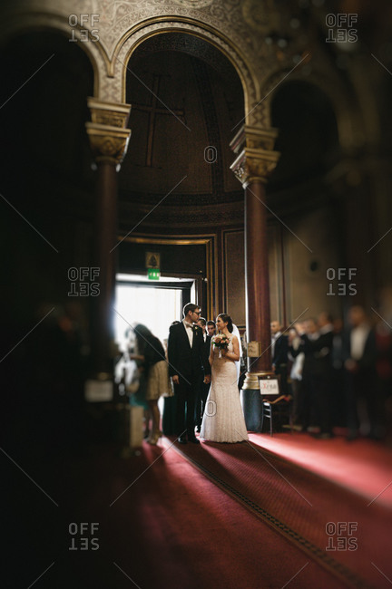 Couple walking down the aisle