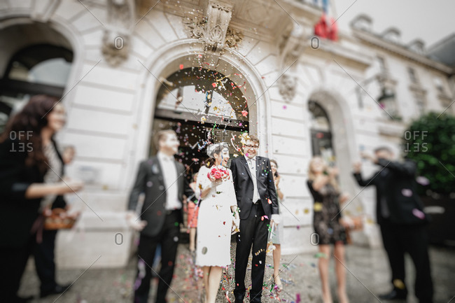 Newlyweds leaving the town hall