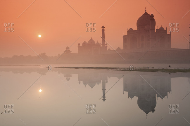 Sunrise behind the Taj Mahal, Agra, India