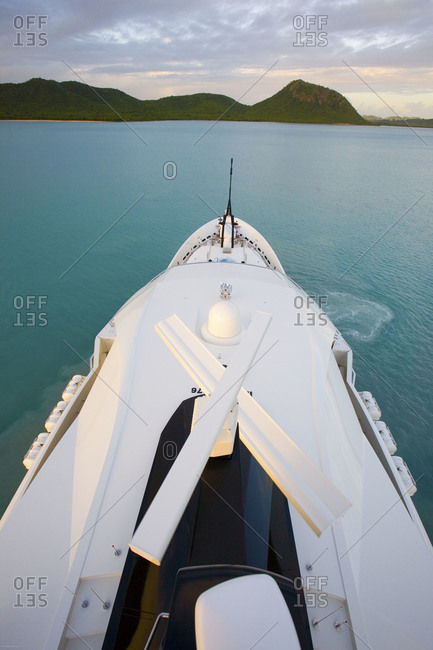 Bow of luxury yacht