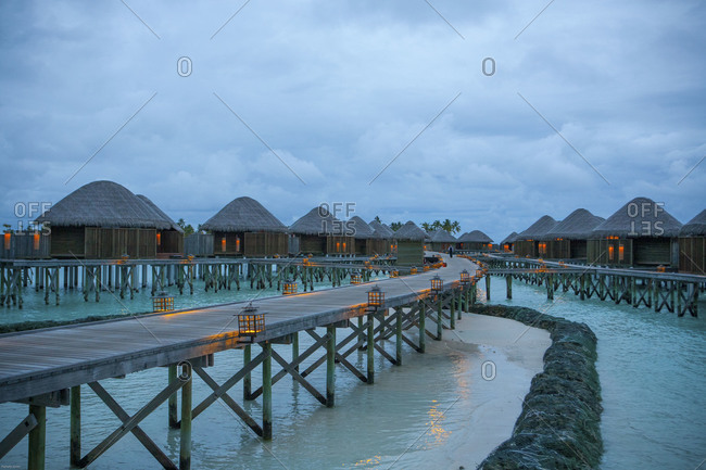 Walkways and huts at tropical resort
