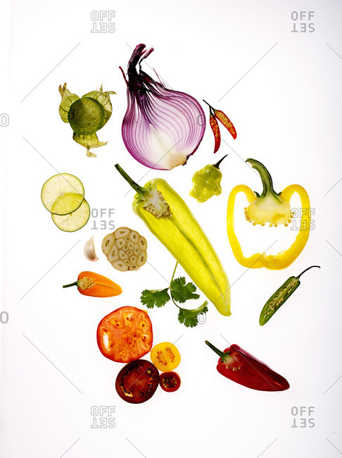 Assortment of sliced fruit and vegetables