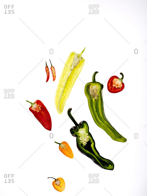 Variation of sliced peppers