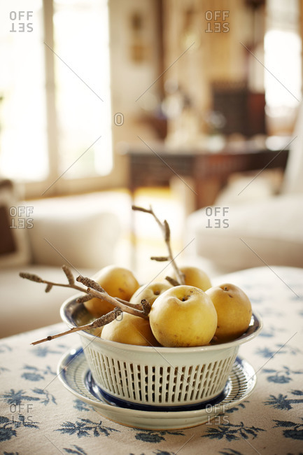 Bowl of twigs and pears