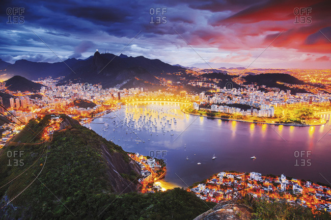 Guanabara Bay, Botafogo, Flamengo Beach and Corcovado in the background