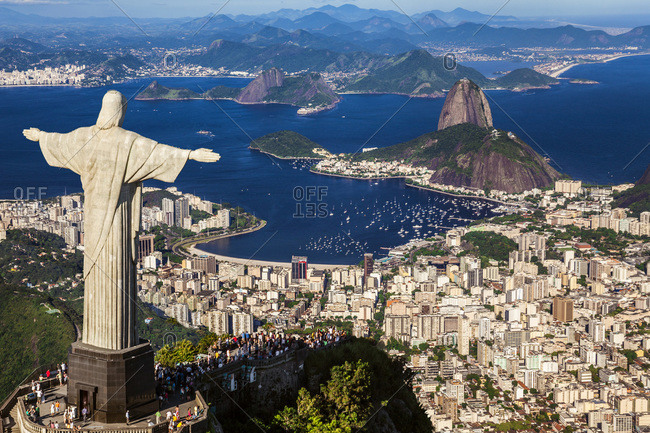 Rio de Janeiro, Brazil - February 16, 2013: Cityscape with Christ the Redeemer and Sugarloaf Mountain in the background