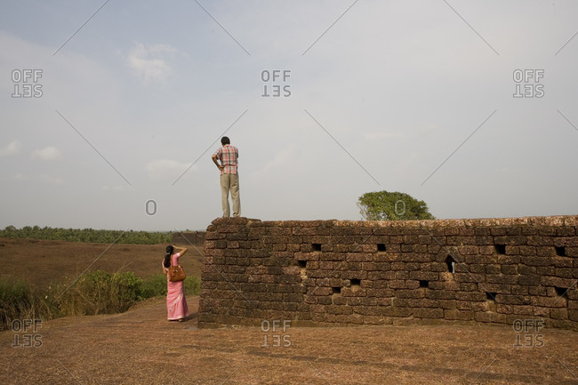 Tourists at a fort in Kerala, India