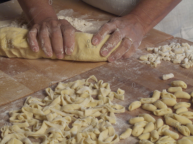 Woman making homemade pasta