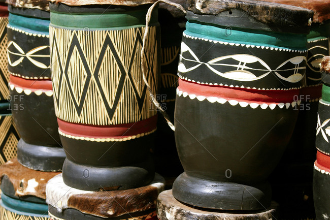 Hand carved drums in Livingstone, Zambia