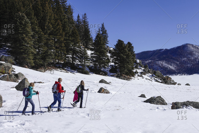 Snow shoeing in winter
