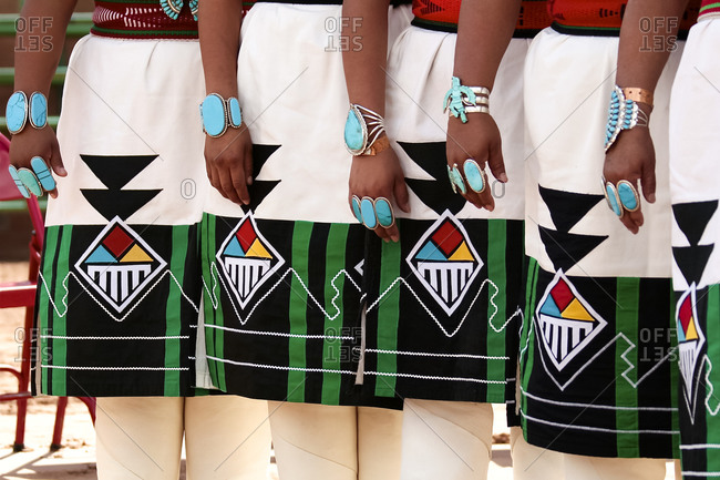 Women in traditional dress in Santa Fe, New Mexico, United States