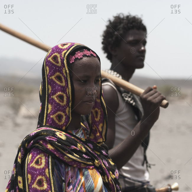 Danakil, Ethiopia - August 28, 2011: A young Afar man and woman